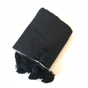 Pom Pom Blanket Throw Nuit - souks du monde
