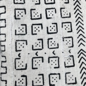 Two White Domino Mudcloth Pillow Covers - souks du monde