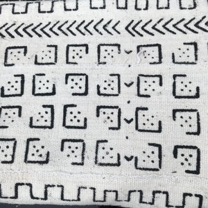 Mudcloth Blanket Throw Domino White - souks du monde