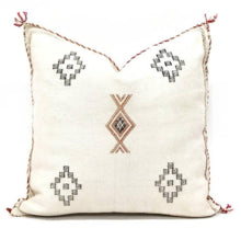 Sabra Statement Pillow Cover - White Linen - souks du monde