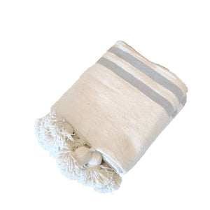 Pom Pom Blanket Throw Antwerp White with Gray Stripes - souks du monde