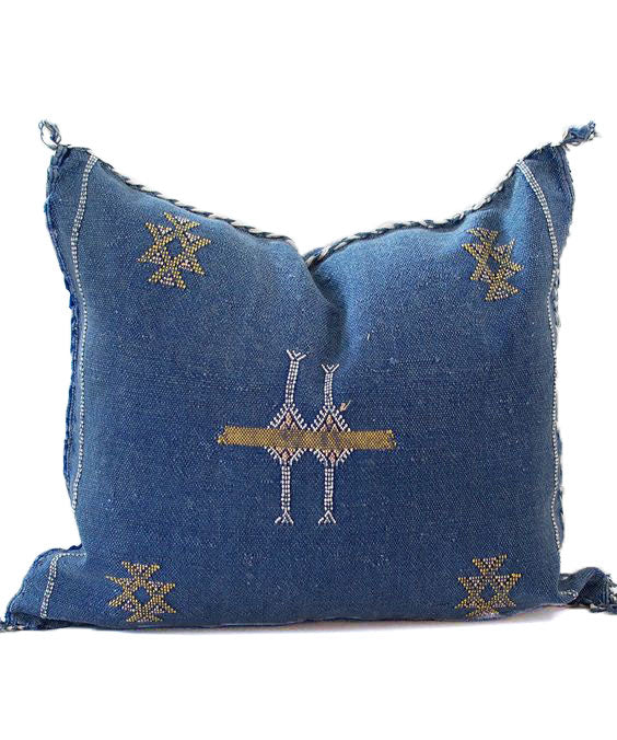 Sabra Statement Pillow Cover - Midnight Blue - souks du monde