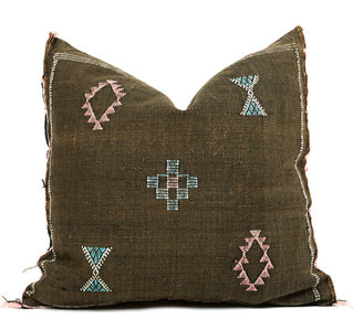 Sabra Statement Pillow Cover - Earth Brown - souks du monde