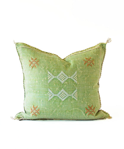Sabra Statement Pillow Cover - Lime Green - souks du monde