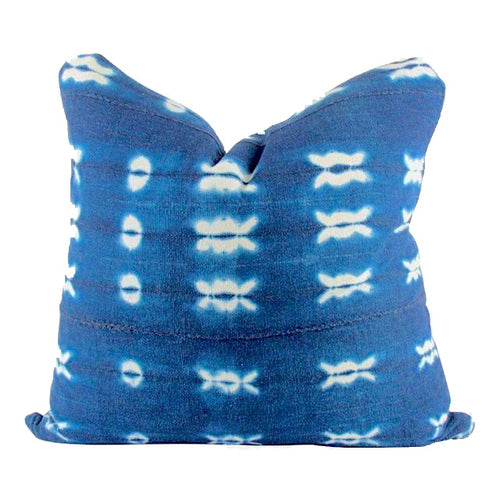 TWO Tie Dye Indigo Mudcloth Pillows - souks du monde