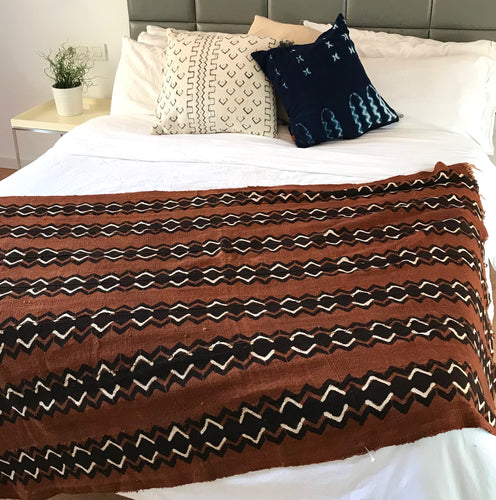 Mudcloth Blanket Throw Brown - souks du monde