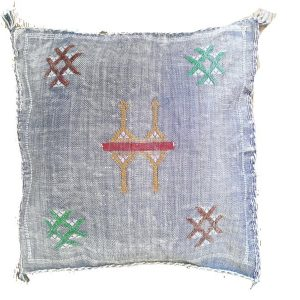 Sabra Statement Pillow Cover - Faded Blue - souks du monde