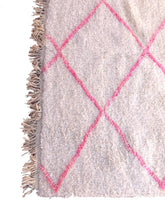 "Load image into Gallery viewer, Beni Ourain Pink Wool Area Rug 8'2.5"" x 4'11"" /250 x 150 cm - souks du monde"