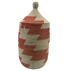 Senegalese Woven Basket Laundry Hamper Red and White - Now Accepting Pre-Orders! - souks du monde