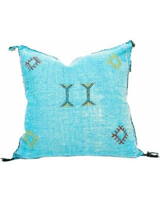 Sabra Statement Pillow Cover -Turquoise - souks du monde