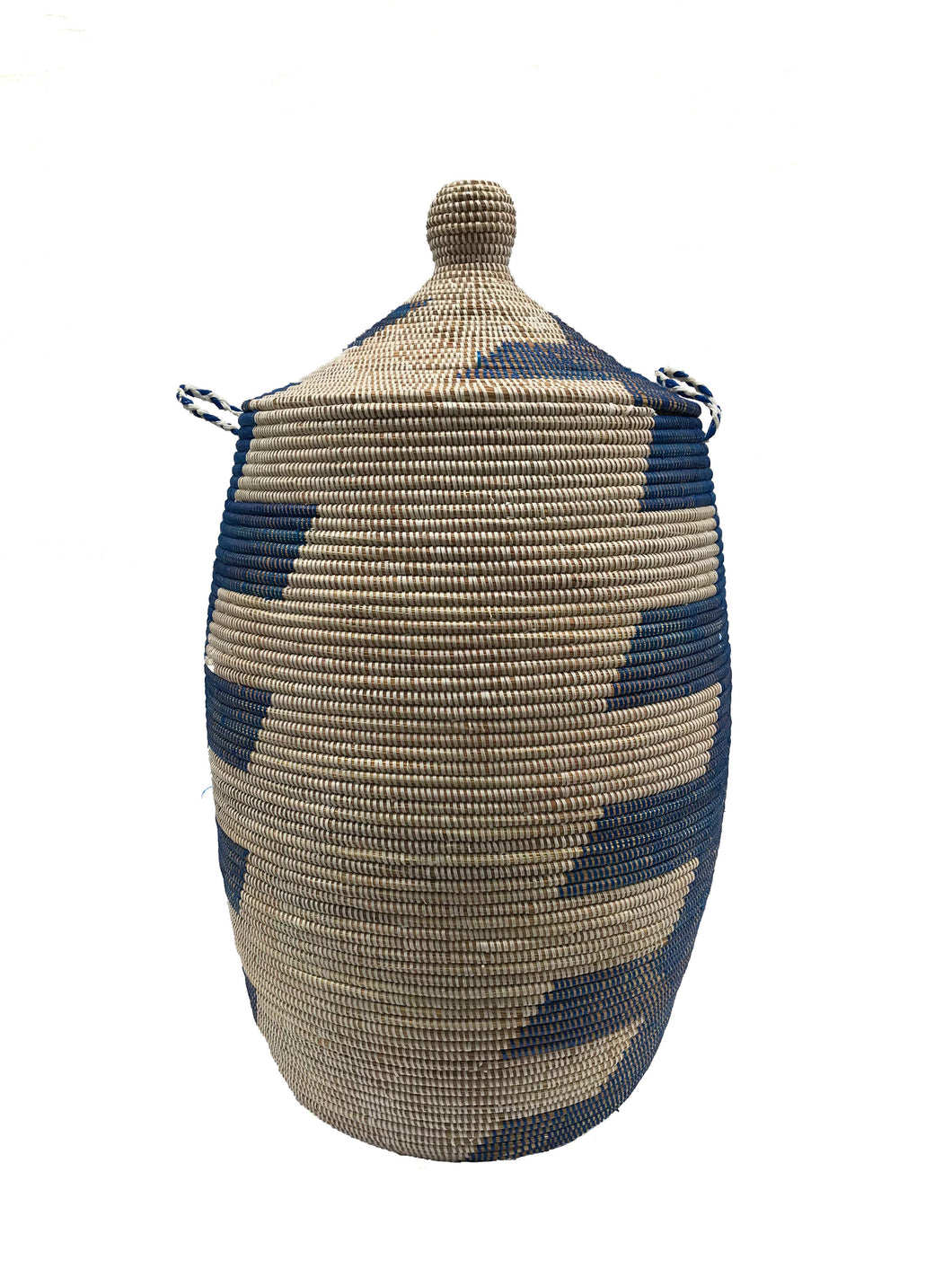 Senegalese Woven Basket Laundry Hamper Blue and White - Now Accepting Pre-Orders! - souks du monde