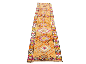 Turkish Herki runner orange pink white yellow