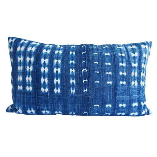 TWO Indigo Vintage Wash Mudcloth Pillows - souks du monde
