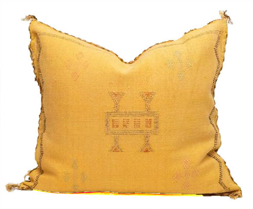 Sabra Statement Pillow Cover -Sunny Yellow - souks du monde