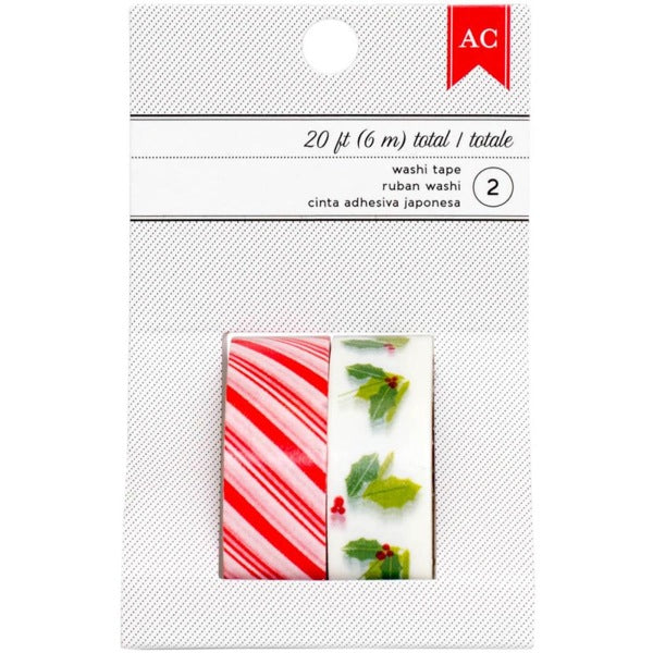 American Crafts Festive Washi Tape - Red Stripe & Holly