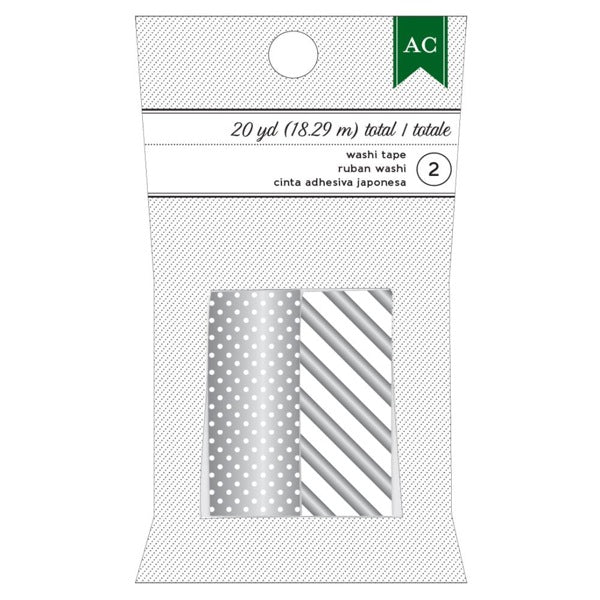 American Crafts Festive Washi Tape - Silver Dots and Stripes