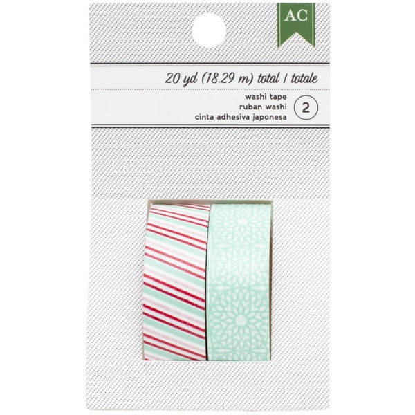 American Crafts Festive Washi Tape - Multi Stripes & Aqua Doilies