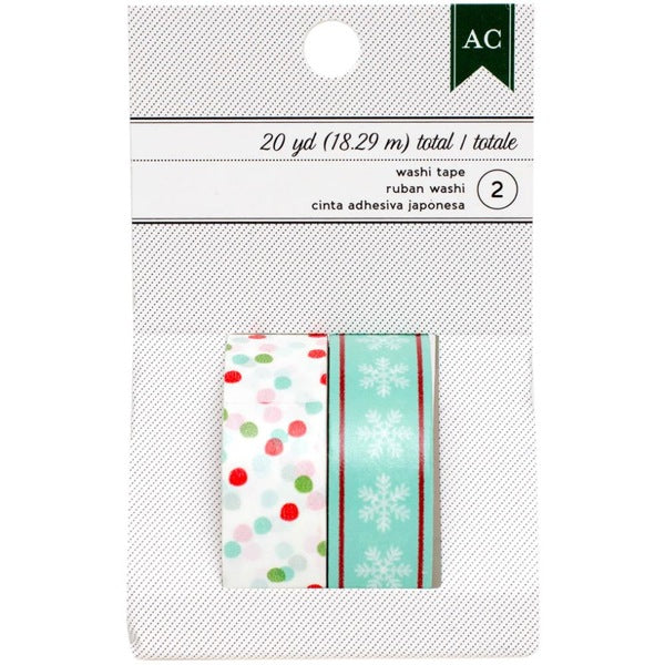 American Crafts Festive Washi Tape - Multi Dots & Aqua Snowflakes