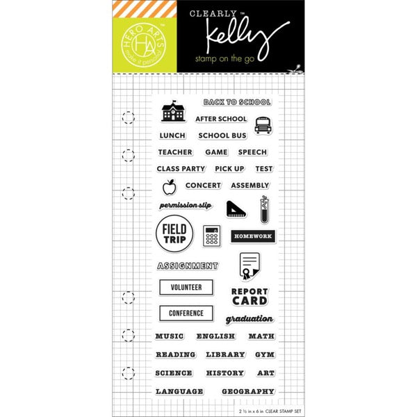 Hero Arts Kelly Purkey Clear Acrylic Stamp Set - School Planner