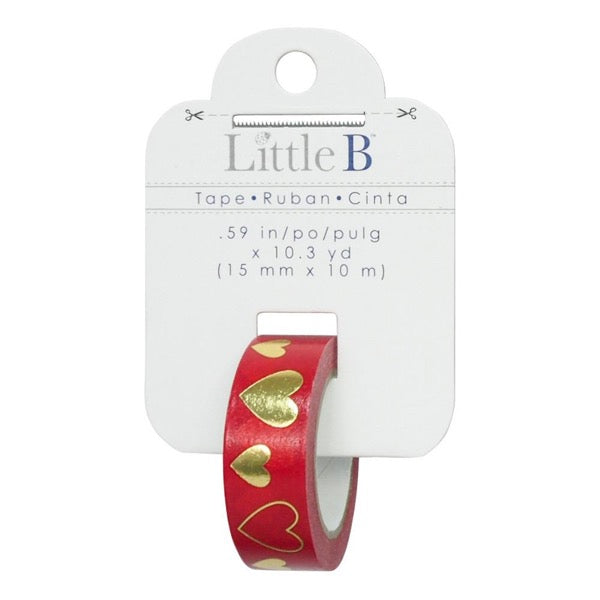 Little B 15mm Foiled Tape - Red & Gold Hearts