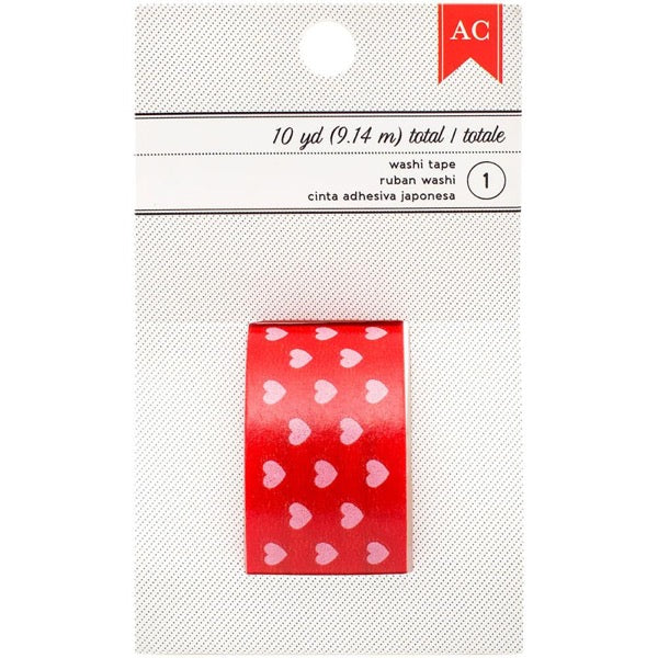 American Crafts Washi Tape - Pink Hearts on Red
