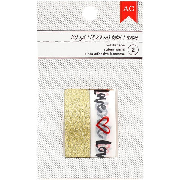 American Crafts Washi Tapes - Love & Gold Glitter