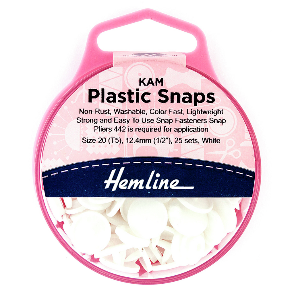 Hemline KAM Plastic Snaps: 25 x 12.4mm Sets: White