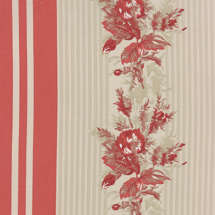 Miss Scarlet - Minick & Simpson - Warm Red Border Stripe