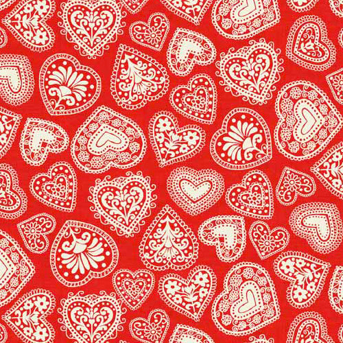Scandi 3 - Makower - Hearts Red