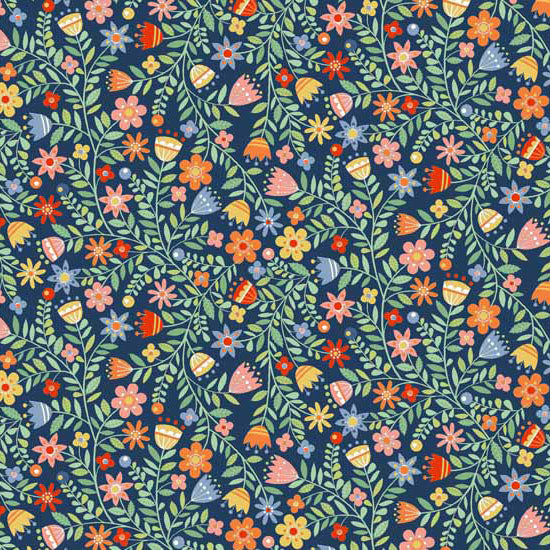 Crafty Cats - Makower - Flowers Blue