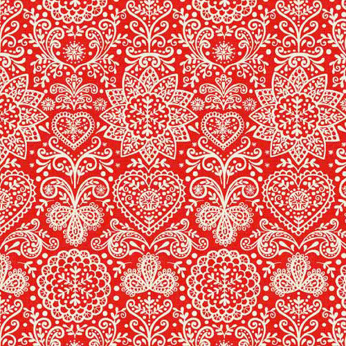 Scandi 4 - Makower - Scandi Lace Red