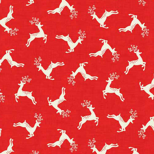 Scandi 4 - Makower - Scandi Deer Scatter Red