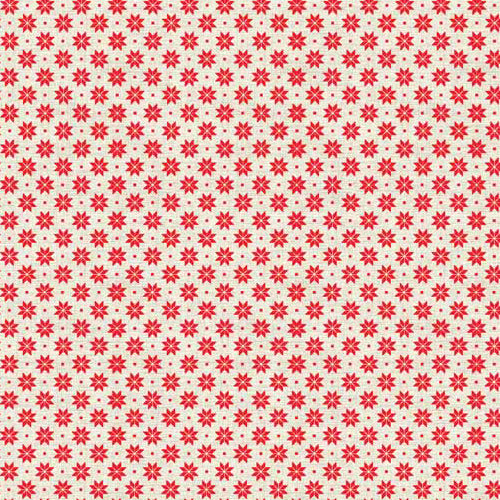 Scandi Basics - Makower - Scandi Snowflakes Red on Cream