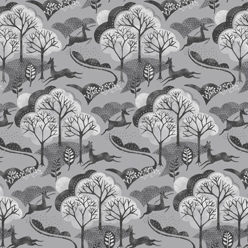 Into The Woods - Makower - Trees Grey
