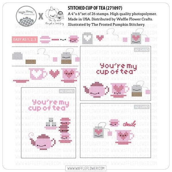 Waffle Flower Clear Acrylic Stamp Set - Cross Stitch Cup of Tea