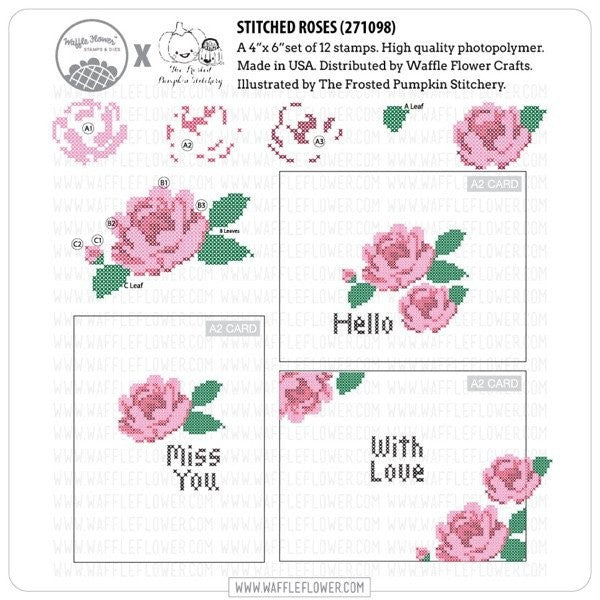 Waffle Flower Clear Acrylic Stamp Set - Cross Stitch Roses