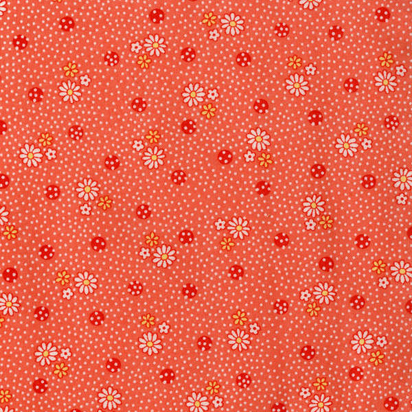 Lecien Old New 30's - Coral Daisy Dots