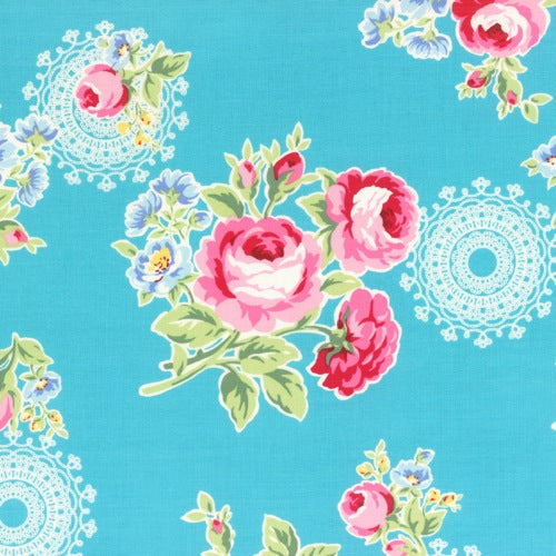 Lecien Flower Sugar - Doily Rose Blue