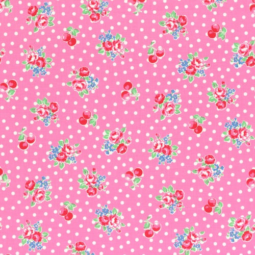 Lecien Flower Sugar - Cherry Polka Dot Rose Pink