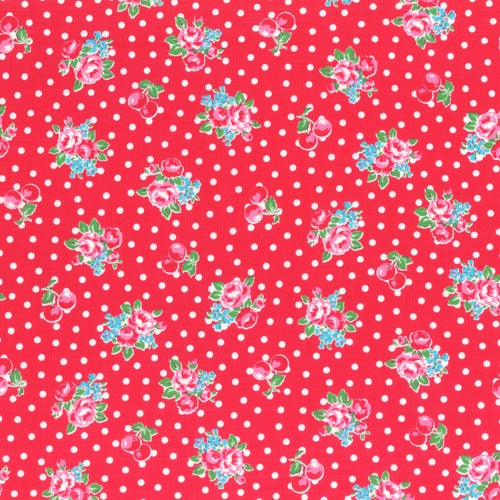 Lecien Flower Sugar - Cherry Polka Dot Rose Red