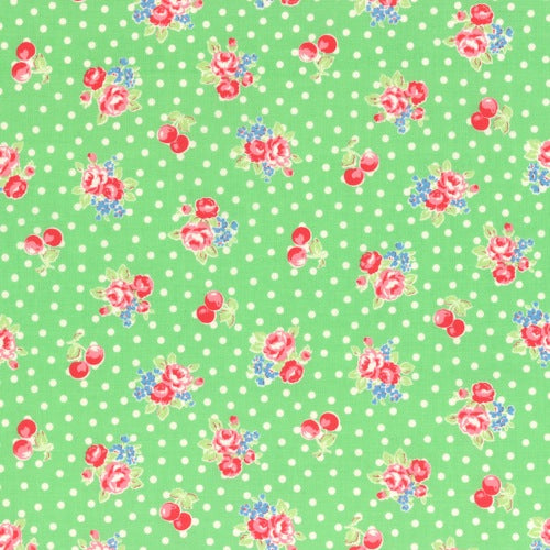 Lecien Flower Sugar - Cherry Polka Dot Rose Green