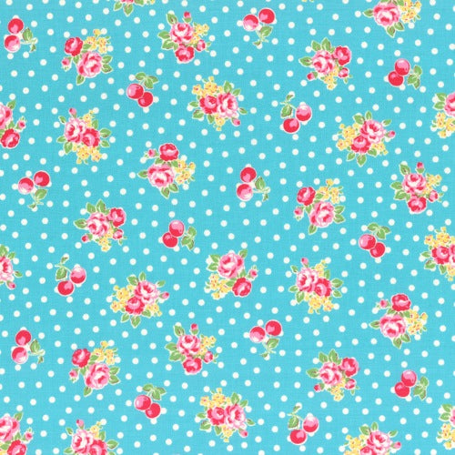 Lecien Flower Sugar - Cherry Polka Dot Rose Blue