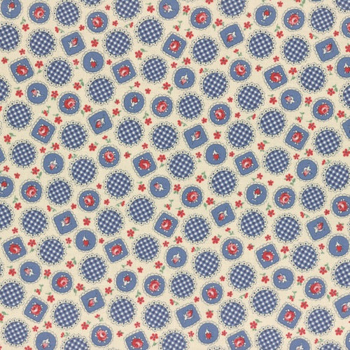 Lecien Retro 30's Child Smile - Scallop Circles Blue