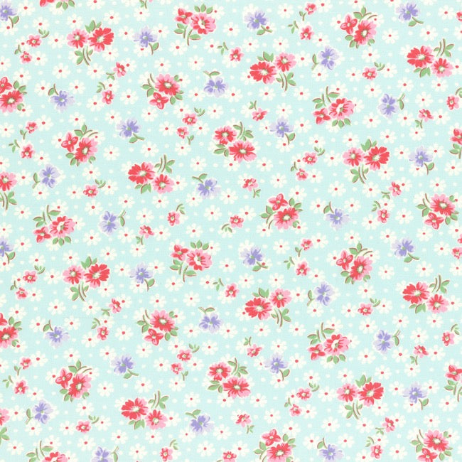 Lecien Old New 30's 2017 - Light Blue Daisies - BOLT END