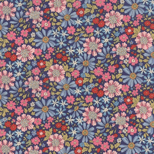 Floral Dark Blue Lawn - Regent Street Lawns Sentimental Studios