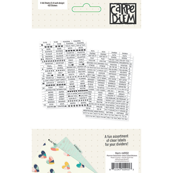 Carpe Diem Planner Essentials - Clear Label Stickers