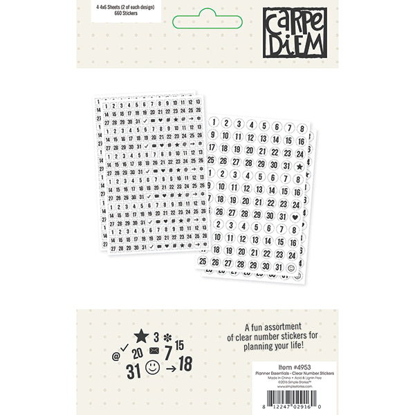 Carpe Diem Planner Essentials - Clear Number Stickers