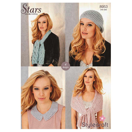 Stylecraft Knitted Pattern - Knitted Scarf, Shawl, Collar and Hat in Stars DK (8953)