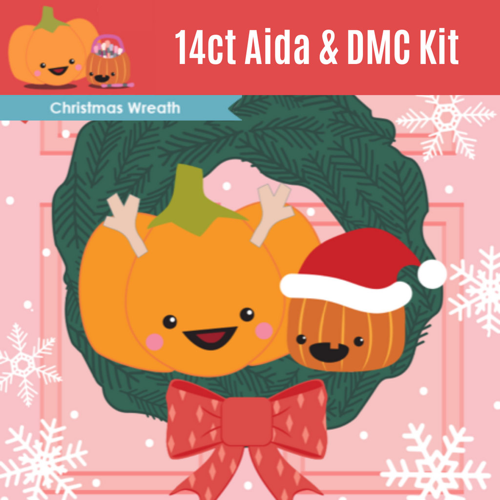KIT - Christmas Wreath Club - 14ct Aida & Threads