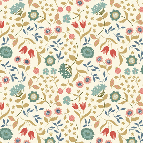 Chieveley - Lewis & Irene - Country House Floral Cream - Metallic